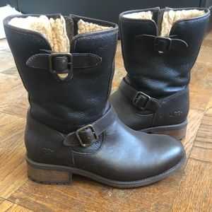 UGG Waterproof Leather Boots with Wool Lining-9